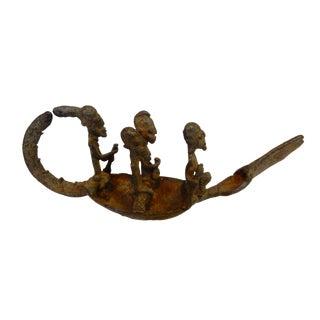 Dogan Bronze crocodile Boat w/ figures MALI