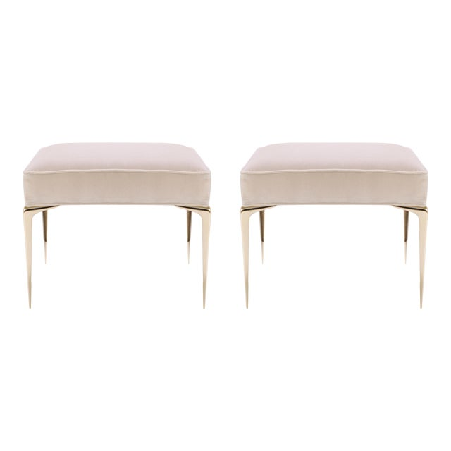 Colette Brass Ottomans in Nude Velvet by Montage, Pair - Image 1 of 7