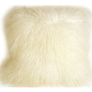 Mongolian Sheepskin Natural White 18x18 Pillow