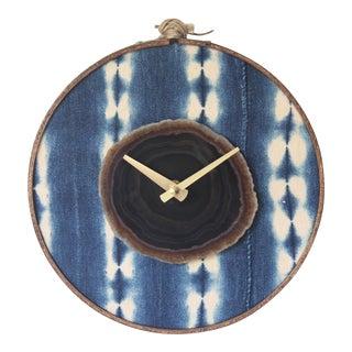 Boho Indigo Mudcloth Textile Earthtone Agate Wall Clock