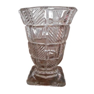 Art Deco Pressed Glass Vase