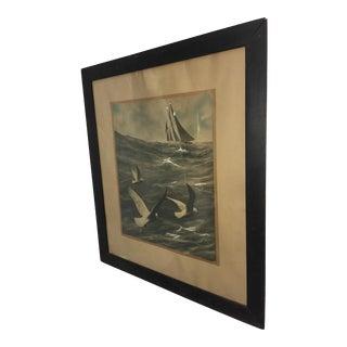 1907 Sailboat & Seagulls Watercolor by at Metrick