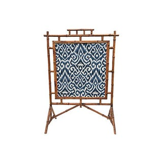 Antique Bamboo Reversible Ikat & Embroidery Fire Screen
