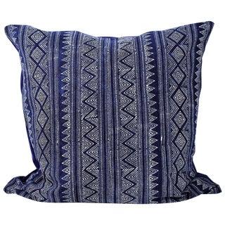 Hmong Zigzag Indigo Batik Handmade Pillow Cover