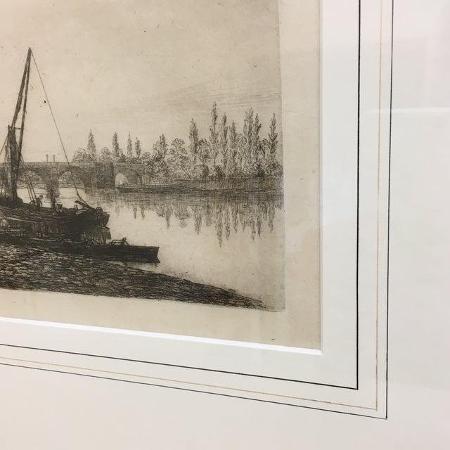 Vintage Framed Riverside Fishing Boat Etching - Image 4 of 7