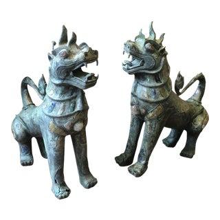 Pair of Tony Duquette Antique Bronze Thai Foo Dogs with Amethyst and Rose Quartz