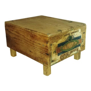 Antique Prune Harvest Advertising Crate Stool