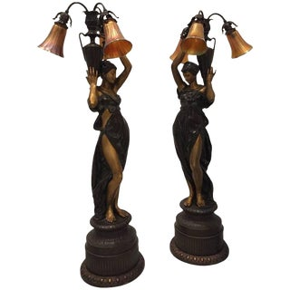 French Bronze Ladies 'Torchere' Floor Lamps - A Pair