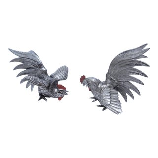 Silver Plated Fighting Gamecocks - a Pair
