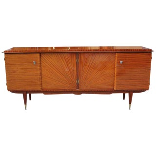 French Art Deco Mahogany Sunburst Sideboard or Credenza, circa 1940s