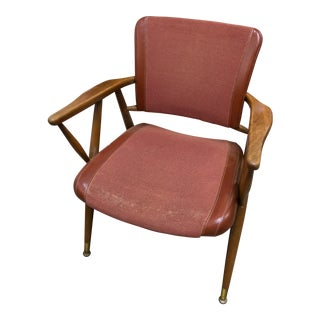 Vintage Mid-Century Modern Pantone Dark Orange Lounge Chair