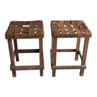 Antique Early California Rustic Leather & Oak Stools - A Pair
