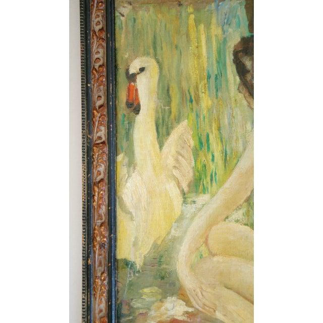 1940s French Oil Painting of Female Nude W/ Swan - Image 4 of 7
