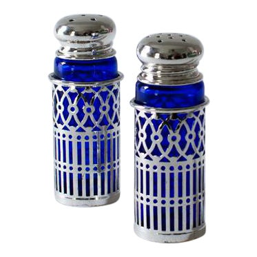 Cobalt Glass and Silverplate Salt and Pepper Shakers - Image 1 of 3