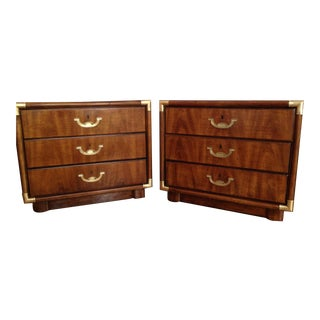 Drexel Accolade Campaign Nightstands - A Pair
