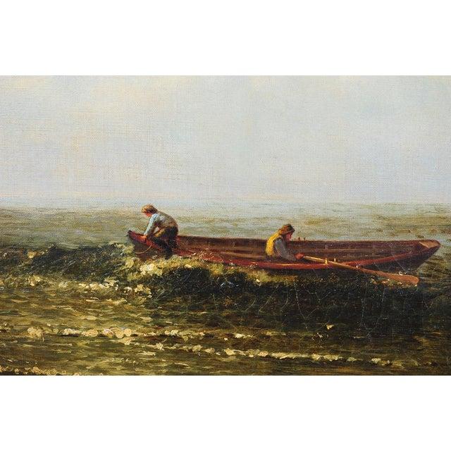 """Harry J. Sunter 1880 """"Fishermen Offshore"""" Painting - Image 4 of 9"""