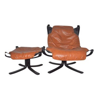 1970s Vatne Mobler Falcon Chair & Ottoman - A Pair