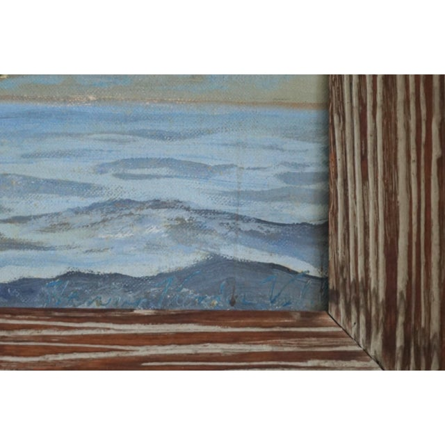 Vintage Sailboat Painting In Weathered Frame - Image 5 of 6