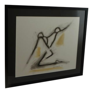 Contemporary Mixed Media Abstract Figural Signed Painting