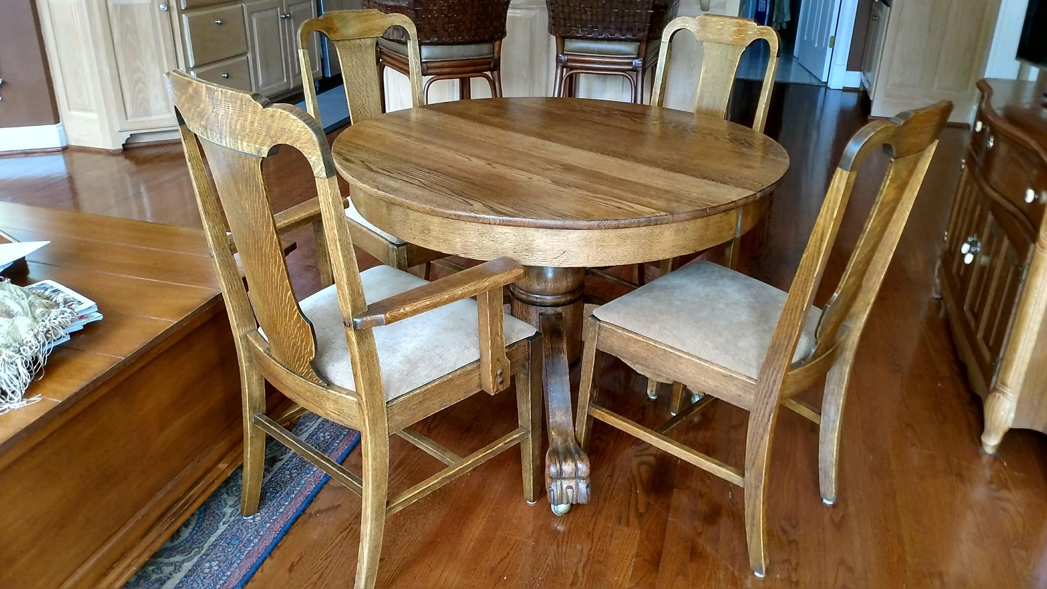 Foot Dining Room Table antique claw foot dining table & 4 chairs | chairish