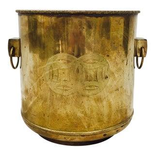 Vintage Etched Brass Jardiniere Planter