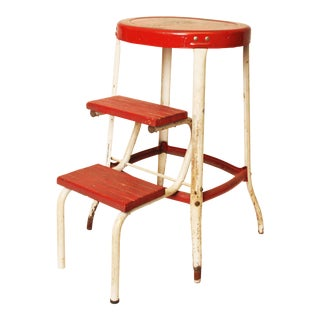 Vintage Industrial Metal Red & White Step Stool