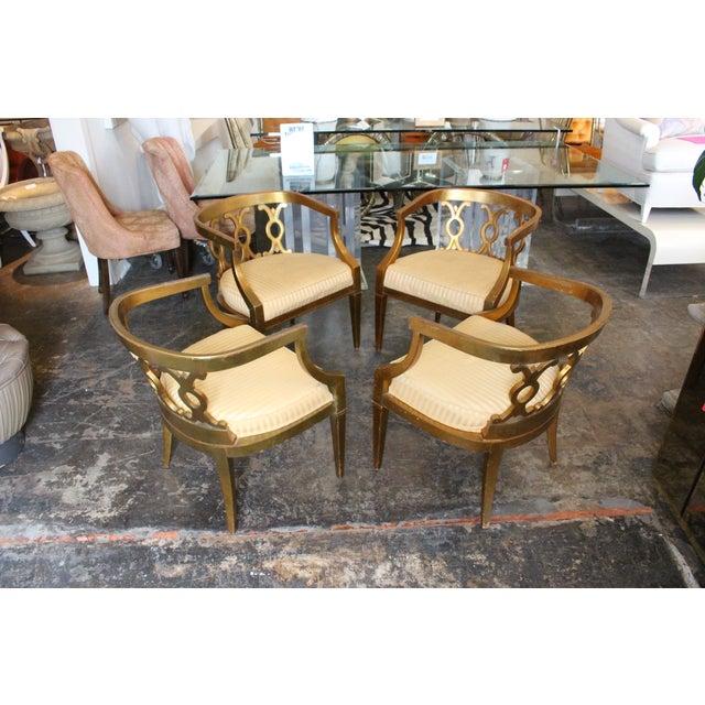 Regency Gold Leaf Barrel Chairs - Set of 4 - Image 5 of 8