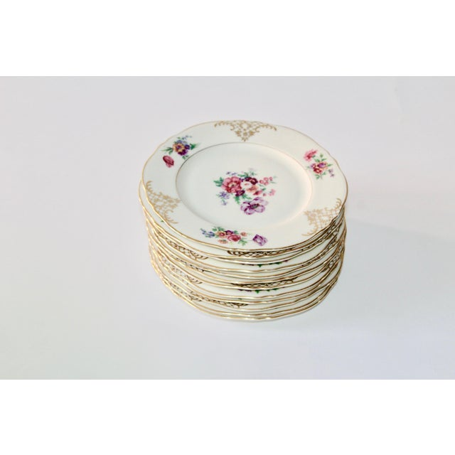 Set of 13 Floral Porcelain Czechoslovakian Epiag Dessert/Bread Plates - Image 3 of 11