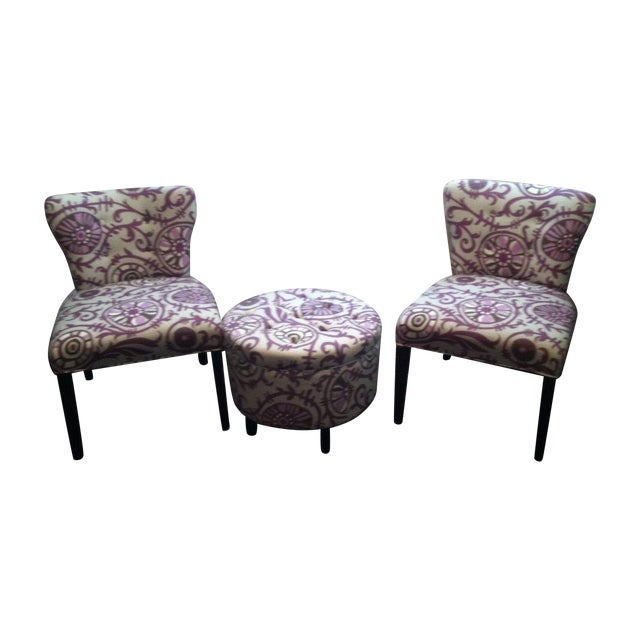 Matching upholstered side chairs ottoman chairish for Matching arm chairs