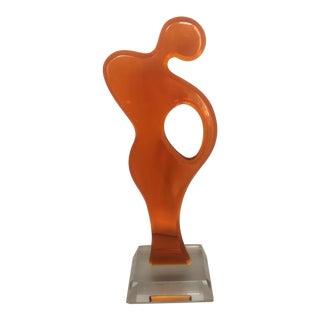 Haziza Orange Lucite Sculpture