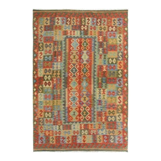 "Kilim Arya Ambrose Red/Green Wool Rug - 5'4"" X 8'2"""