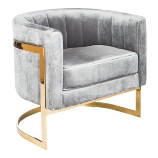 Mica Gold and Gray Velvet Club Chair