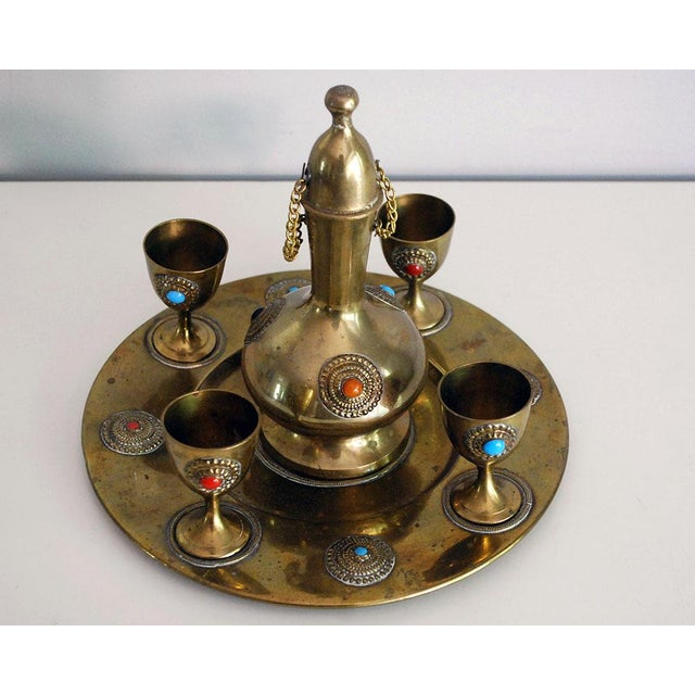 Middle Eastern Brass Drink Set - Set of 6 - Image 3 of 6