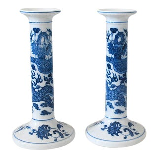 Vintage Porcelain Blue and White Candle Holders - A Pair