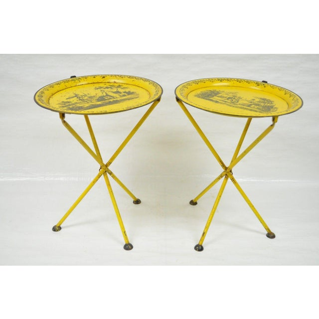 Pair of Vintage Italian Neoclassical Tole Metal Folding Side Tables Yellow Courting - Image 7 of 11