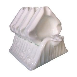 Fenton Milk-glass Rose Individual Ashtray Set