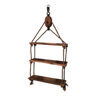 Rustic Pulley & Rope Shelf