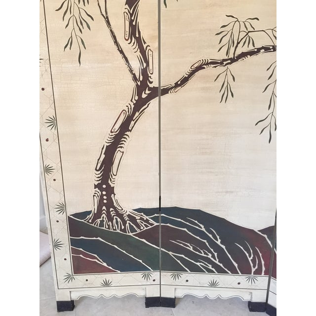 Hand-Painted Chinese Wood Screen - Image 3 of 11