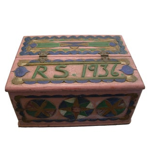 1936 Folk Art Carved and Painted Box