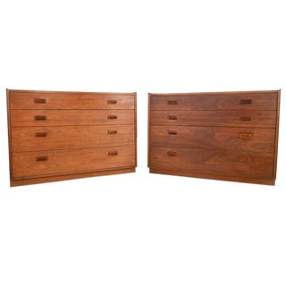 Founders Mid-Century Walnut Dressers - A Pair