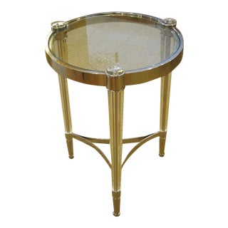 Two Extraordinary Solid Crystal and Nickel Side Tables in Style of Fontana Arte