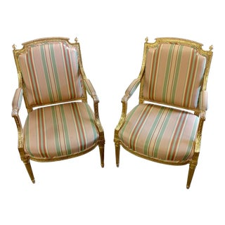 19th Century French Louis XVI Gilt Wood Fauteuils Chairs - A Pair