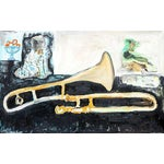 Image of Anne-Louise Ewen Still Life With Trombone Oil Painting