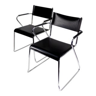 Modernist Chrome & Black Leather Chairs - A Pair
