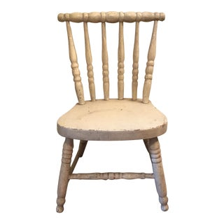 White Hand Carved Child's Chair
