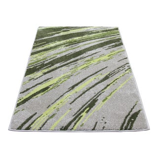 "Green Abstract Striped Rug - 2'8"" X 5'"