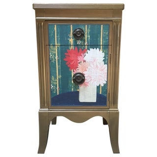 Metallic Gold Nightstand With Floral Linen Panel