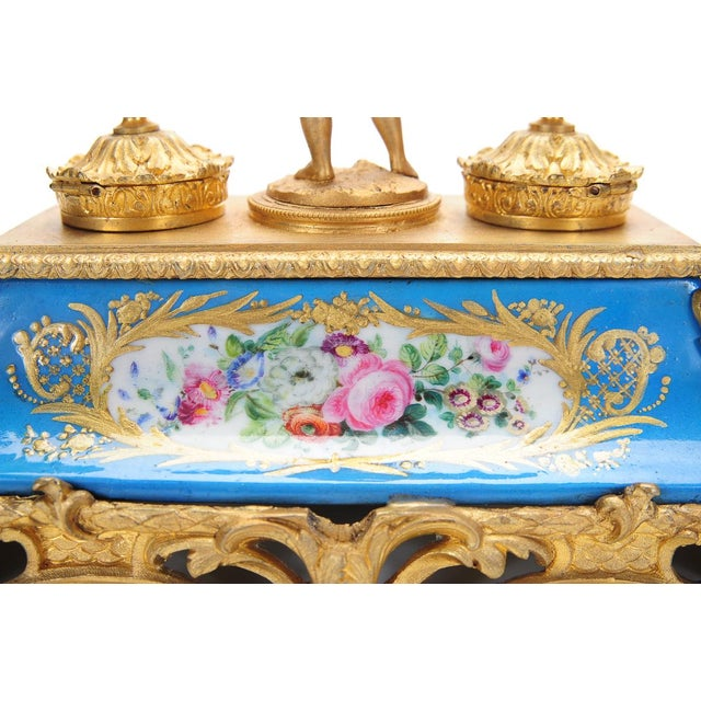 18th C. French Gilt Bronze & Porcelain Inkwell - Image 8 of 9