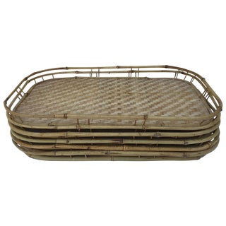Vintage Bamboo Serving Trays - Set of 6