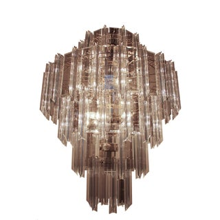 Mid-Century Glass and Lucite Chandelier